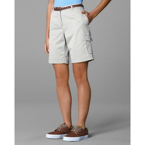 Twin Hill Womens Shorts Khaki Poly/Cotton Flat Front