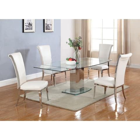 Somette Maya Dining Table with Glass Top - Grey/Silver
