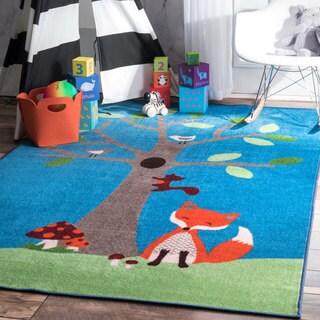 nuLOOM Playtime Fantasy Kids Fox and Friends Multi Rug - 3'3 x 5'