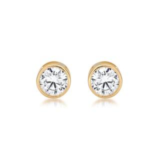 Marabela 14k Yellow Gold Round Bezel Set Cubic Zirconia Stud Earrings