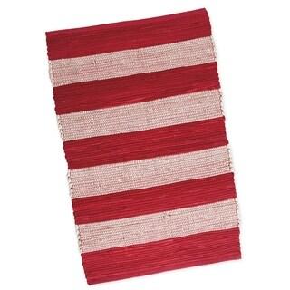 "Red & White Stripe Chindi Rug- 20 x 31.5"""