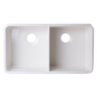 ALFI brand AB512UM 32 inch Biscuit Double Bowl Fireclay Undermount Kitchen Sink
