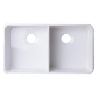 Alfi Brand AB512UM-W 32 inch White Double Bowl Fireclay Undermount Kitchen Sink