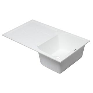"""ALFI brand AB1620DI-W White 34"""" Single Bowl Granite Composite Kitchen Sink with Drainboard"""