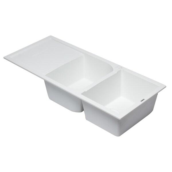 """Shop Alfi Brand AB4620DI-W White 46"""" Double Bowl Granite ..."""