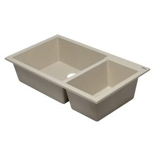 """ALFI brand AB3319UM-B Biscuit 34"""" Double Bowl Undermount Granite Composite Kitchen Sink"""