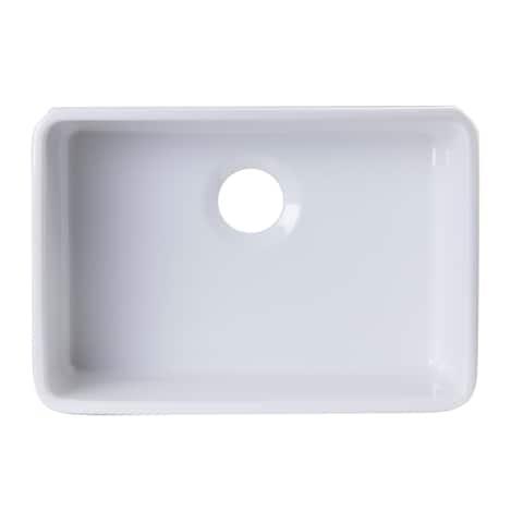 Alfi Brand AB503UM-W 24 inch White Single Bowl Fireclay Undermount Kitchen Sink