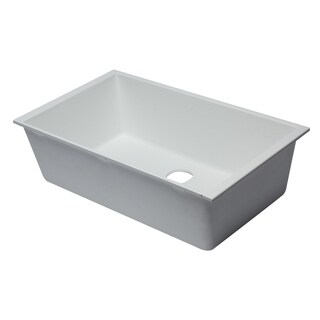 "ALFI brand AB3322UM-W White 33"" Single Bowl Undermount Granite Composite Kitchen Sink"