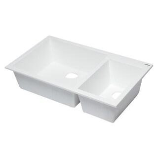 "ALFI brand AB3319UM-W White 34"" Double Bowl Undermount Granite Composite Kitchen Sink"