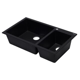 """ALFI brand AB3319DI-BLA Black 34"""" Double Bowl Drop In Granite Composite Kitchen Sink"""