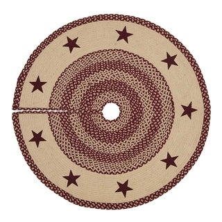 Burgundy Tan Jute Stencil Star Tree Skirt