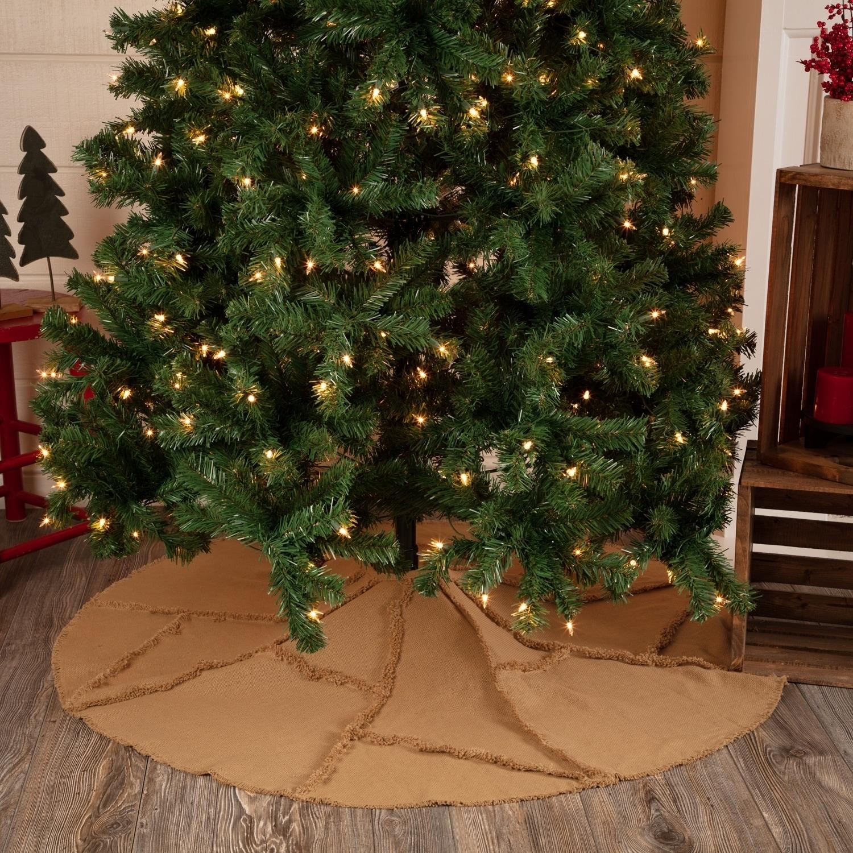 VHC Brands Burlap Natural Reverse Seam Mini Tree Skirt, T...