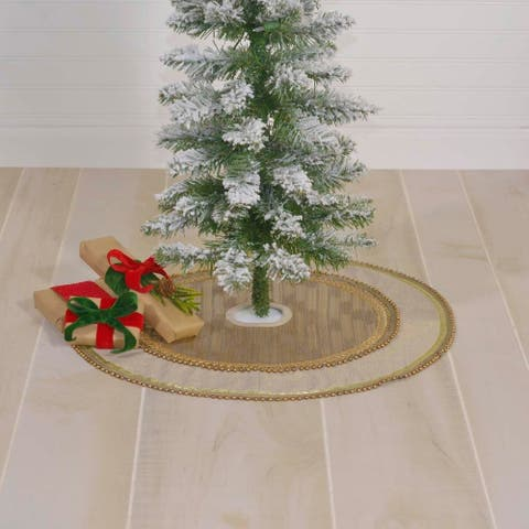 Tan Glam Christmas Holiday Decor VHC Celebrate Tree Skirt Cotton Appliqued Beaded Trim Chambray - 21x21