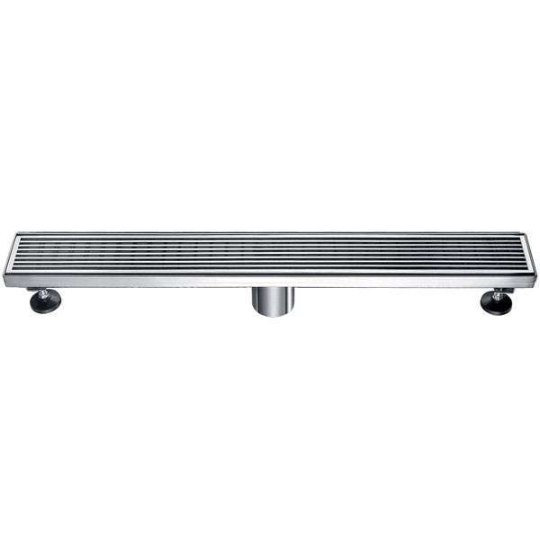 """Alfi Brand ABLD24D 24"""" Modern Stainless Steel Linear Shower Drain with Groove Lines"""