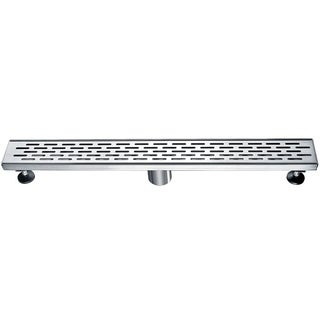 """ALFI brand ABLD24C 24"""" Long Modern Stainless Steel Linear Shower Drain with Groove Holes"""