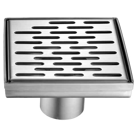 """ALFI brand ABSD55C 5"""" x 5"""" Modern Square Stainless Steel Shower Drain with Groove Holes"""