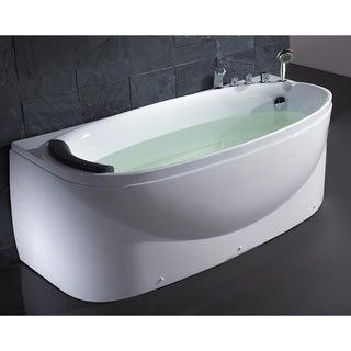 EAGO LK1104-R White Right Drain Acrylic 6' Soaking Tub with Fixtures