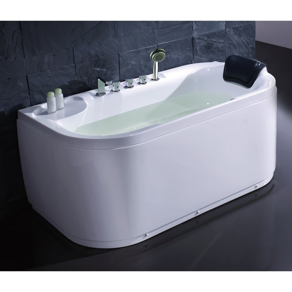 Shop EAGO LK1103-L White Left Drain Acrylic 5\' Soaking Tub with ...