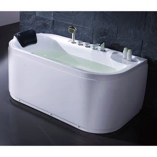 EAGO LK1103-R White Right Drain Acrylic 5' Soaking Tub with Fixtures
