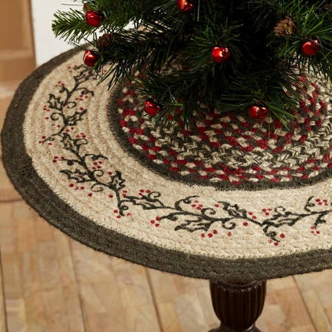 """Red Rustic Holiday Decor VHC Holly Berry Tree Skirt Jute Floral - Flower Stenciled - 21"""" Diameter"""