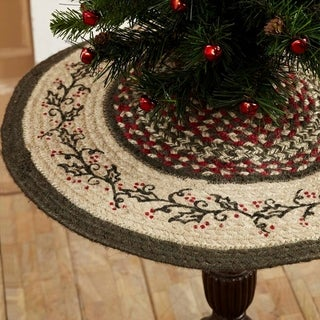 "Red Rustic Holiday Decor VHC Holly Berry Tree Skirt Jute Floral - Flower Stenciled - 21"" Diameter"