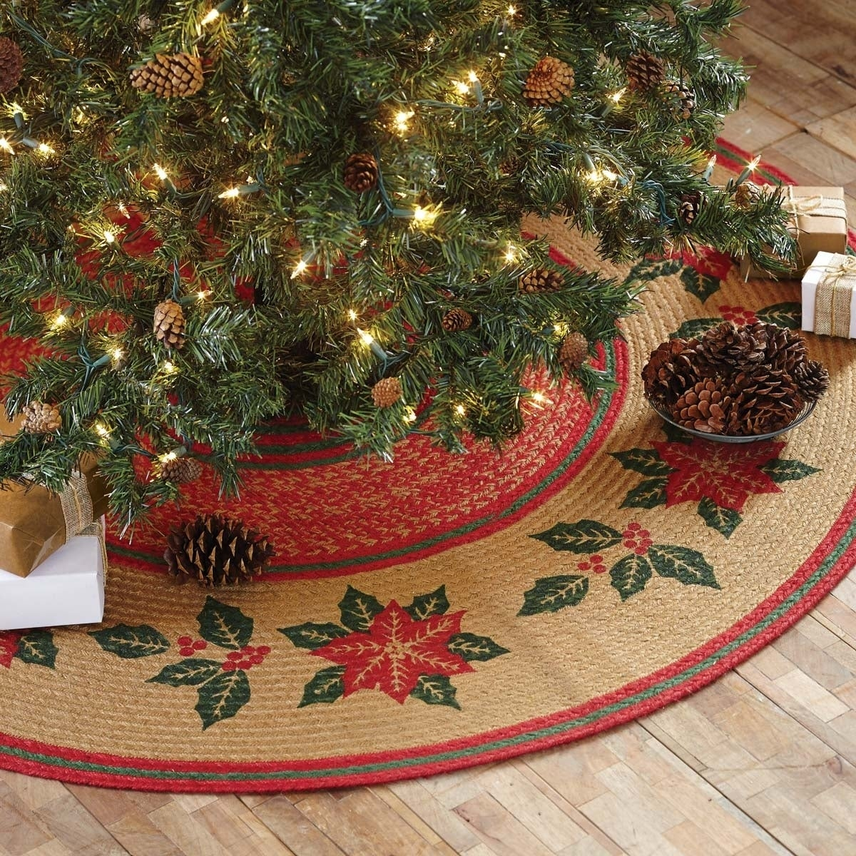 quite nice 53377 40c67 Tan Rustic Holiday Decor VHC Poinsettia Tree Skirt Jute Floral - Flower  Stenciled - 50x50