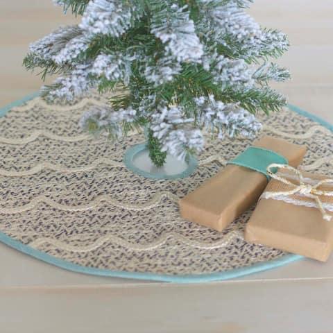 "White Coastal Christmas Holiday Decor VHC Sanbourne Tree Skirt Cotton Nautical Rope Chambray - 21"" Diameter"