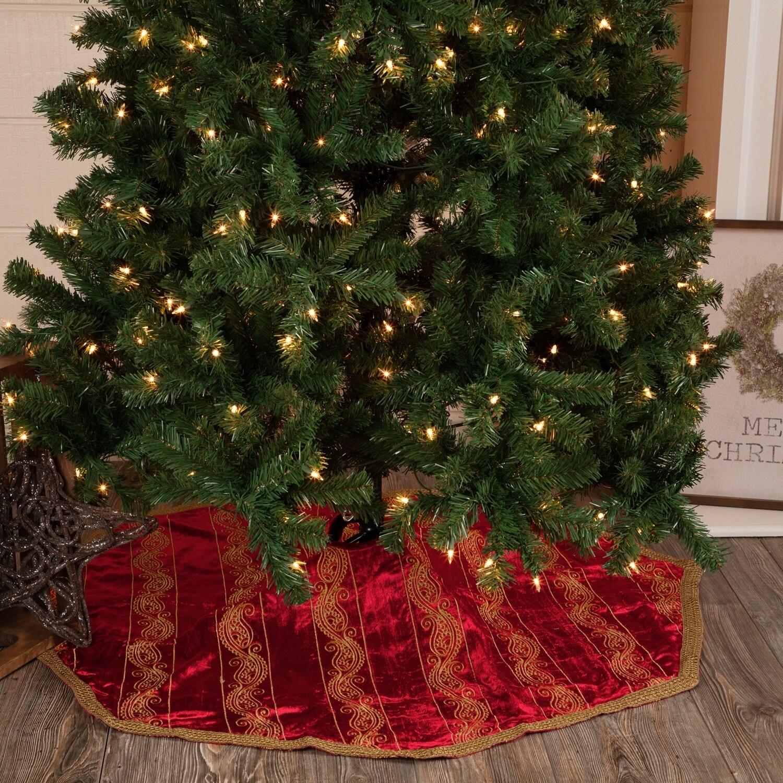 Red Glam Christmas Holiday Decor Vhc Yule Tree Skirt Polyester Modern Embroidered Metallic Ribbon Velvet 60 Diameter Overstock 17807372