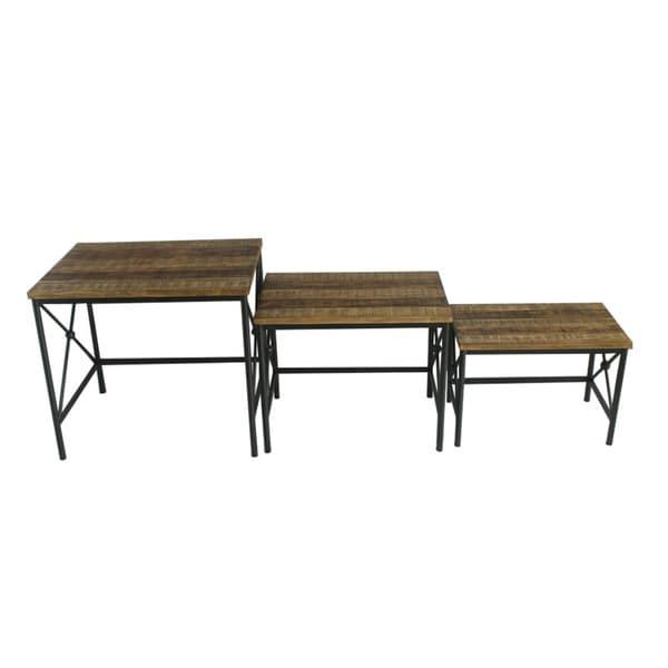 Jeco Wood/Metal Rectangular End Tables (Set of 3)