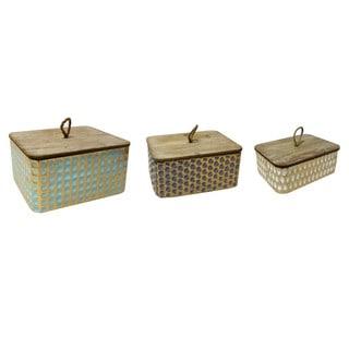 Set of 3 Rectagnlur Metal & Wood Box