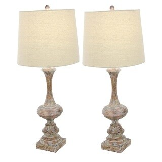 Urban Designs Rustic Polystone Baluster 30-Inch Table Lamp (Set Of 2)