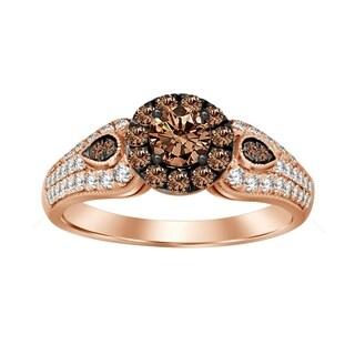 14k rose gold 1.00ct tdw natural brown and white diamond engagement ring