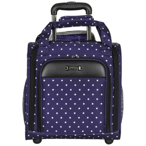 Kenneth Cole Reaction Dot Matrix 14-inch Polka Dot Rolling Carry-on Underseater Tote Bag/ Carry-on Luggage