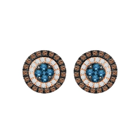 10k rose gold 1.00ct tdw enhanced blue diamond and natural brown diamond pave stud earrings