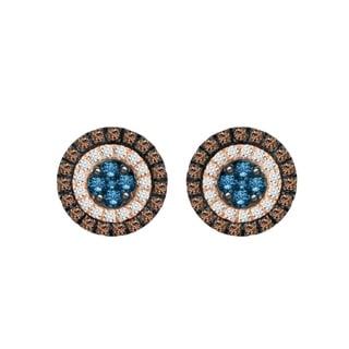 Cappuccino/Blue/White Diamonds 1.00ct Ladies Earing