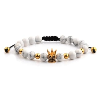 Gold IP Stainless Steel Crown Charm Howlite Stone Beaded Adjustable Bracelet (8mm Wide)