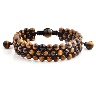 Tiger's Eye Stone Beaded Triple Row Adjustable Bracelet (18mm Wide)