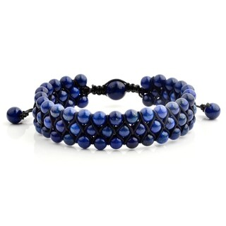 Lapis Lazuli Stone Beaded Triple Row Adjustable Bracelet (16.5mm Wide)