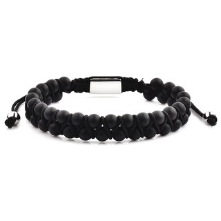Polished Stainless Steel Matte Onyx Stone Beaded Adjustable Bracelet (12mm Wide)