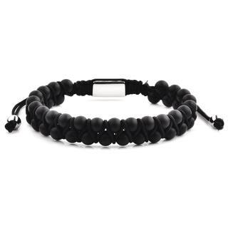 Stainless Steel Matte Onyx Beaded Adjustable Bracelet (12mm Wide)