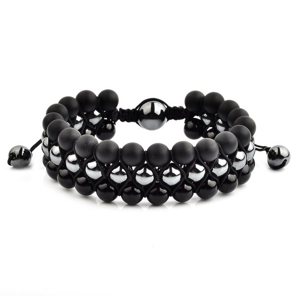 Matte Onyx with Polished Hematite and Onyx Stone Beaded Adjustable Bracelet (23mm Wide)