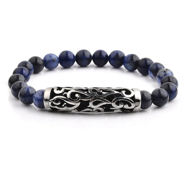 Antiqued Stainless Steel Sodalite Beaded Stretch Bracelet (11mm Wide)