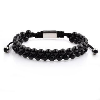 Polished Stainless Steel Onyx Stone Beaded Adjustable Bracelet (12mm Wide)