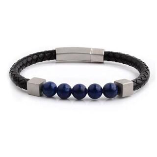 Lapis Lazuli Stone Beaded Black Braided Leather Bracelet (6mm Wide) - 8.5 Inches