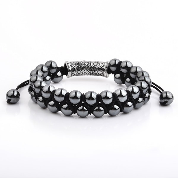 Hematite Stone Double Layered Adjustable Bracelet (15mm Wide)