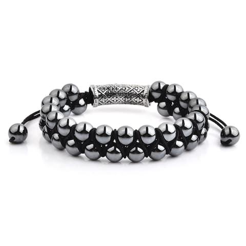 Hematite Stone Double Layered Adjustable Bracelet (15mm Wide)