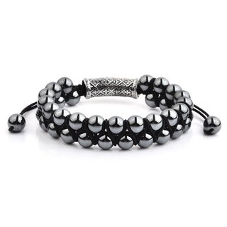 Polished Hematite Stone and Stainless Steel Double Layered Adjustable Bracelet (15mm Wide)