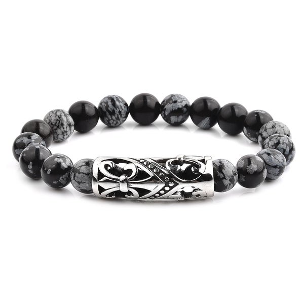 4692b9bc3f Shop Antiqued Stainless Steel Snowflake Agate Beaded Bracelet (14mm ...