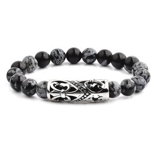 Antiqued Stainless Steel Fleur de Lis Curved Tube Snowflake Agate Stone Beaded Stretch Bracelet (14mm Wide)