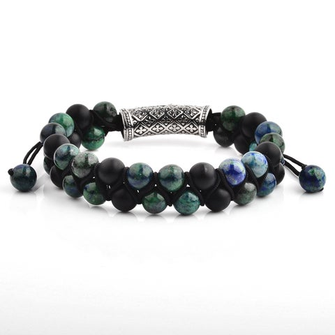 Azurite Chrysocolla and Matte Onyx Adjustable Bracelet (15mm Wide)